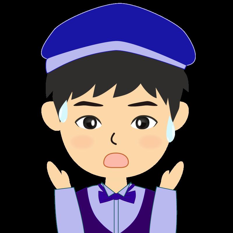 画像:飲食店店員風の青い制服姿の男性イラスト 驚き