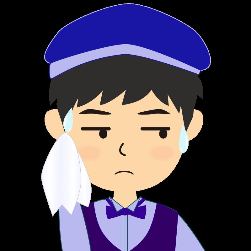 画像:飲食店店員風の青い制服姿の男性イラスト 汗