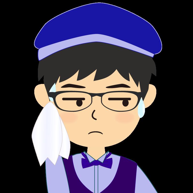 画像:飲食店店員風の青い制服姿の男性イラスト 眼鏡 汗