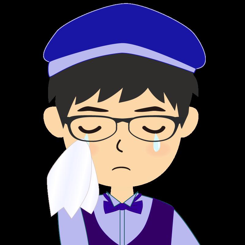 画像:飲食店店員風の青い制服姿の男性イラスト 眼鏡 涙