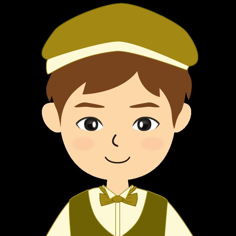 画像:飲食店店員風の黄土色の制服姿の男性イラスト