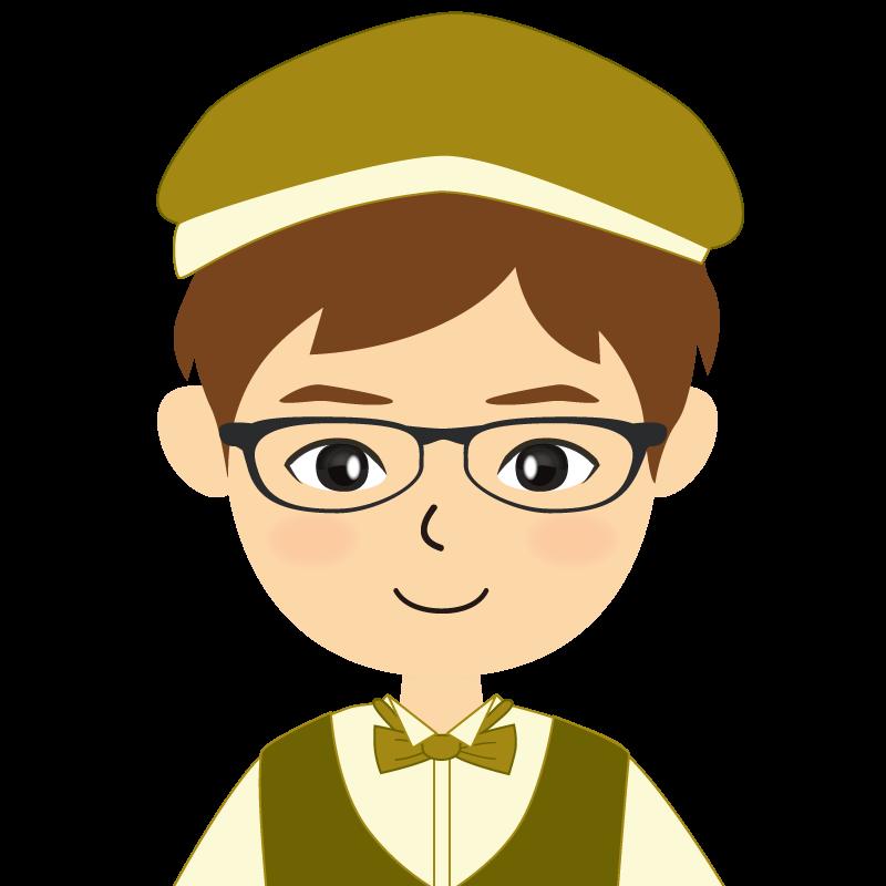 画像:飲食店店員風の黄土色の制服姿の男性イラスト 眼鏡