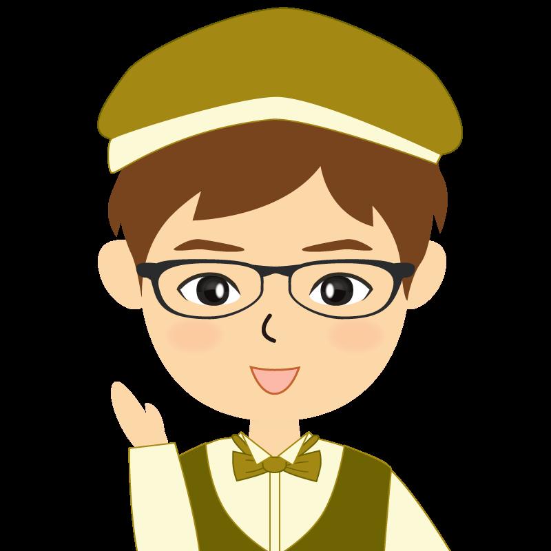 画像:飲食店店員風の黄土色の制服姿の男性イラスト 眼鏡 笑顔