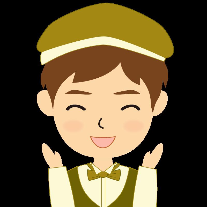 画像:飲食店店員風の黄土色の制服姿の男性イラスト 喜び