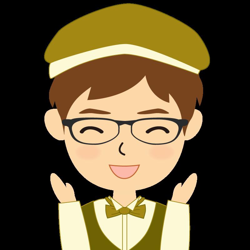 画像:飲食店店員風の黄土色の制服姿の男性イラスト 眼鏡 喜び