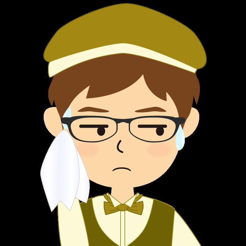 画像:飲食店店員風の黄土色の制服姿の男性イラスト 眼鏡 汗