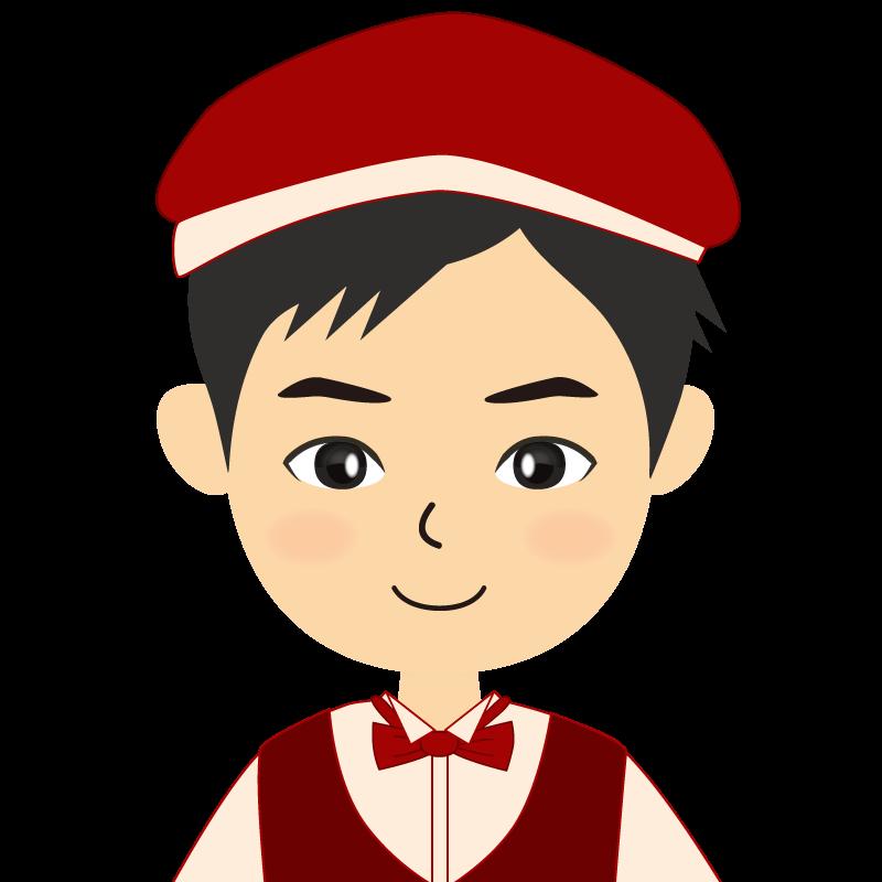 画像:飲食店店員風の赤色の制服姿の男性イラスト