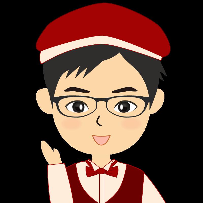 画像:飲食店店員風の赤色の制服姿の男性イラスト 眼鏡 笑顔