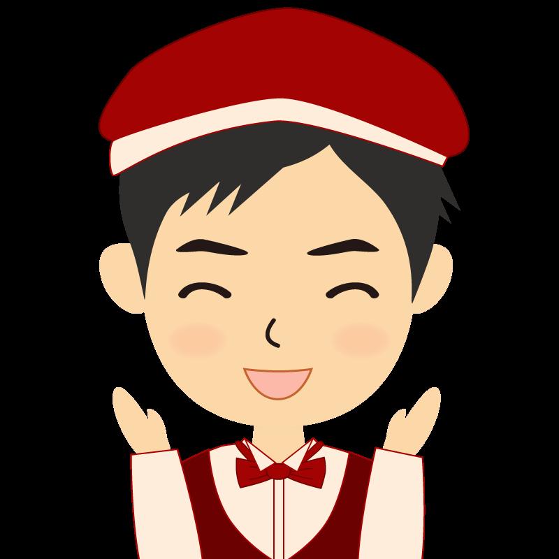 画像:飲食店店員風の赤色の制服姿の男性イラスト 喜び