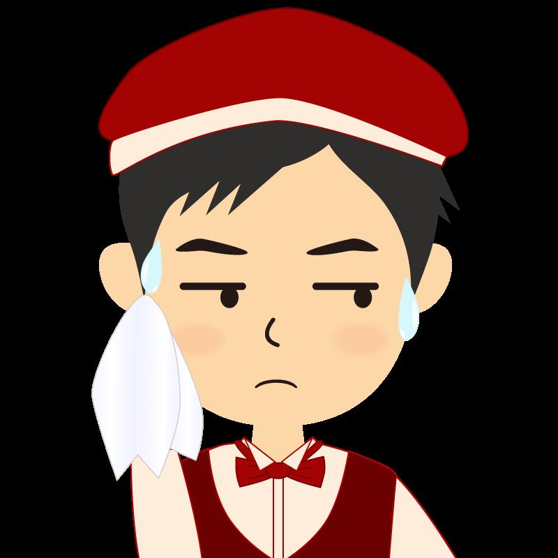 画像:飲食店店員風の赤色の制服姿の男性イラスト 汗