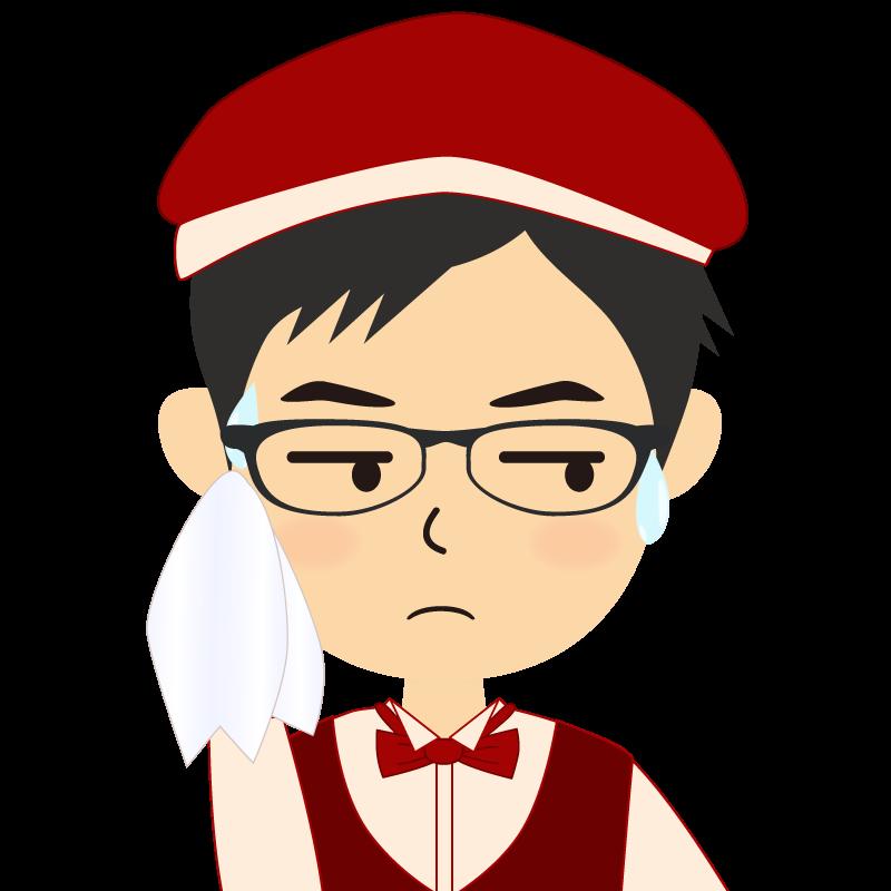 画像:飲食店店員風の赤色の制服姿の男性イラスト 眼鏡 汗