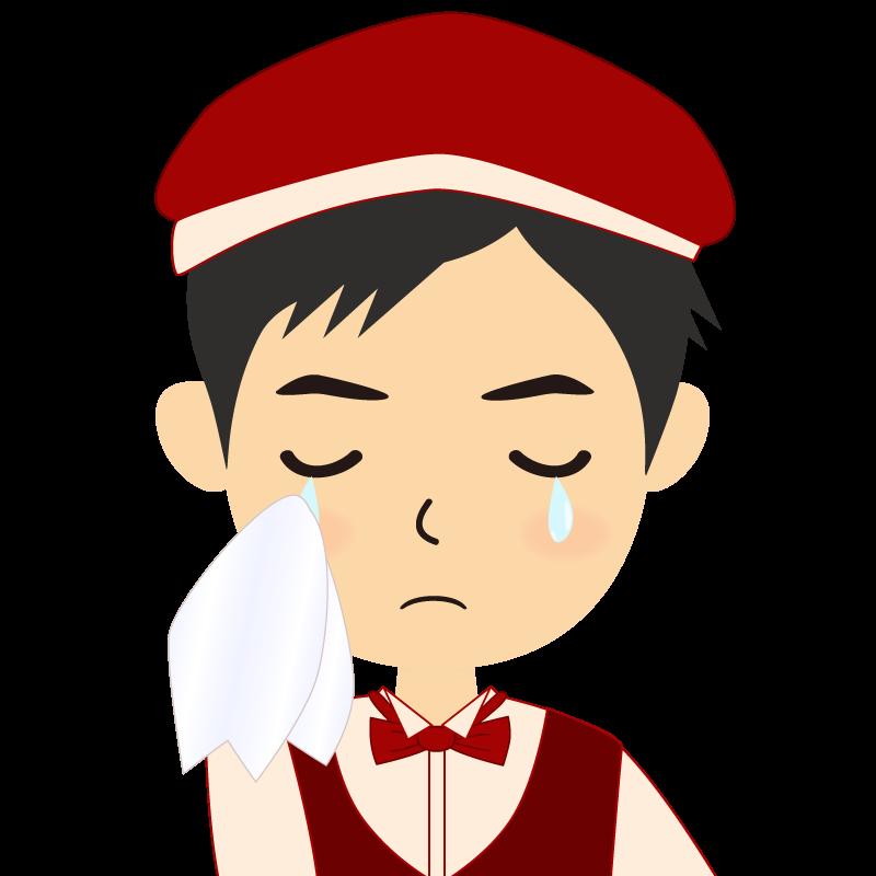 画像:飲食店店員風の赤色の制服姿の男性イラスト 涙