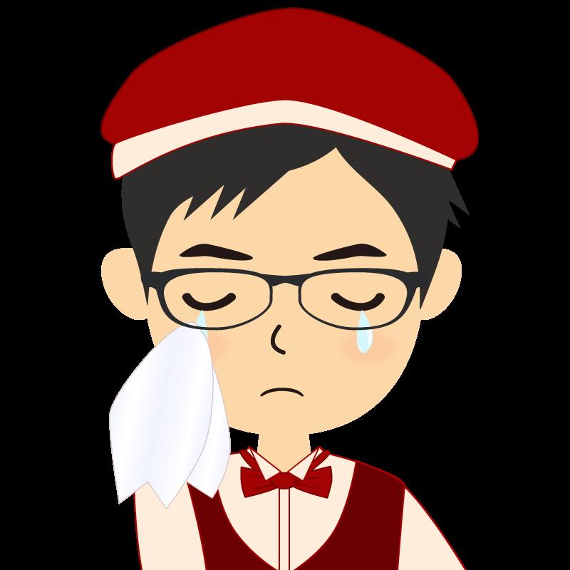 画像:飲食店店員風の赤色の制服姿の男性イラスト 眼鏡 涙