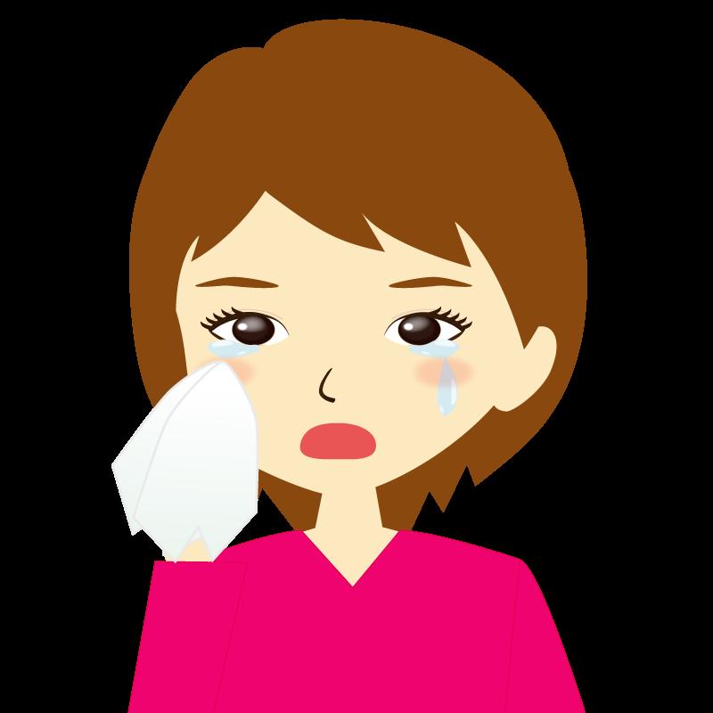 画像:女性イラスト表情 涙
