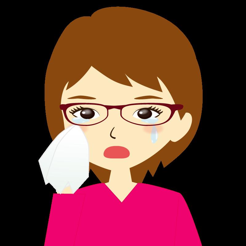 画像:ショートヘア女性イラスト表情 眼鏡 涙