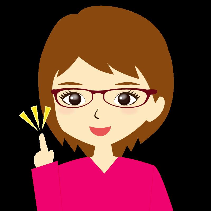 画像:ショートヘア女性イラスト表情 眼鏡 ひらめき