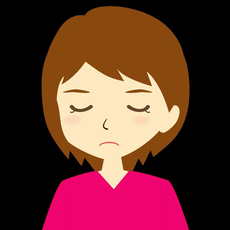 画像:女性イラスト表情 目を閉じる
