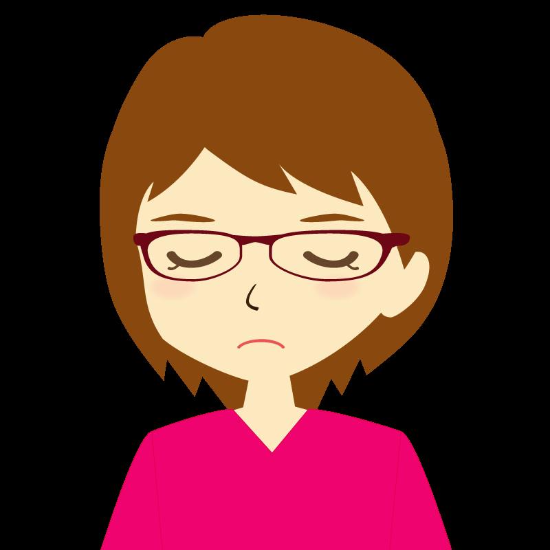 画像:ショートヘア女性イラスト表情 眼鏡 目を閉じる