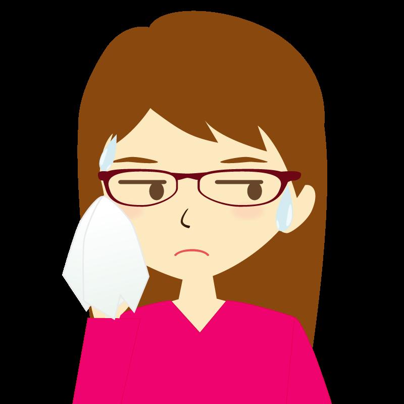 画像:ロングヘア女性イラスト表情 眼鏡 汗
