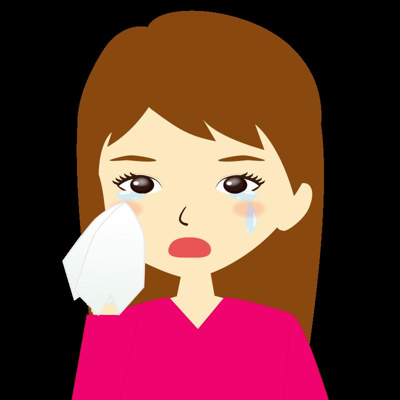 画像:ロングヘア女性イラスト表情 涙