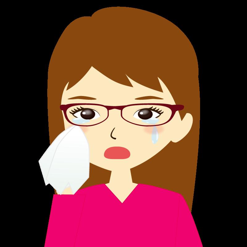 画像:ロングヘア女性イラスト表情 眼鏡 涙