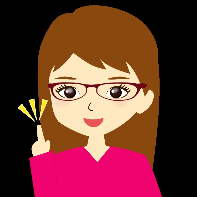 画像:ロングヘア女性イラスト表情 眼鏡 ひらめき