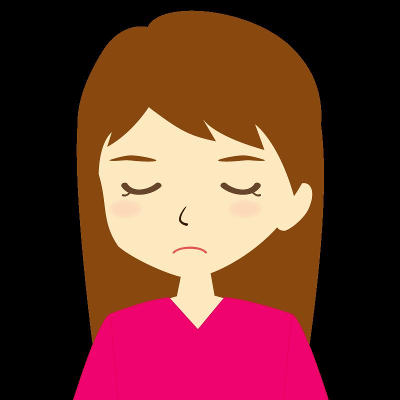 画像:ロングヘア女性イラスト表情 目を閉じる