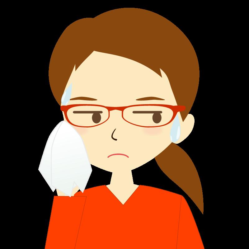画像:ひとつ結び女性イラスト表情 眼鏡 汗