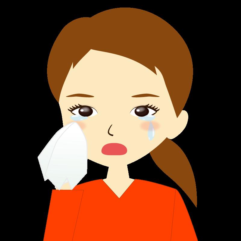 画像:ひとつ結び女性イラスト表情 涙
