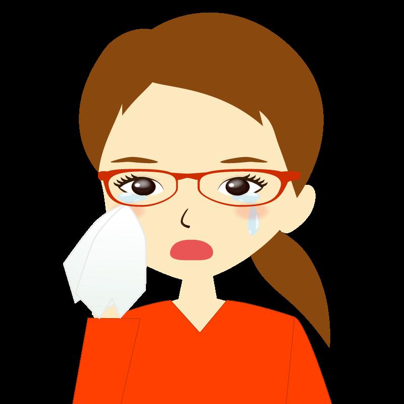 画像:ひとつ結び女性イラスト表情 眼鏡 涙