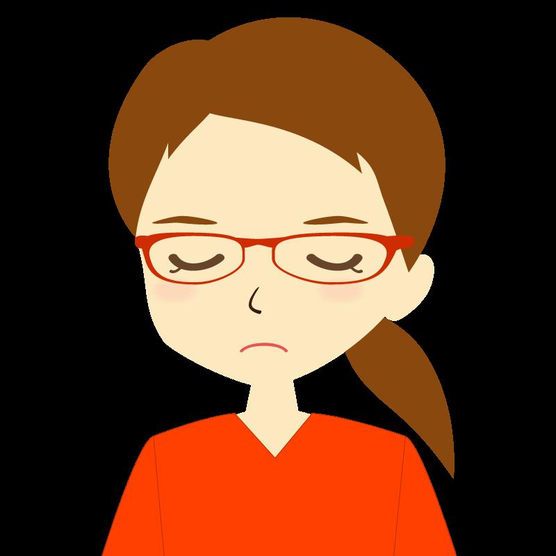 画像:ひとつ結び女性イラスト表情 眼鏡 目を閉じる