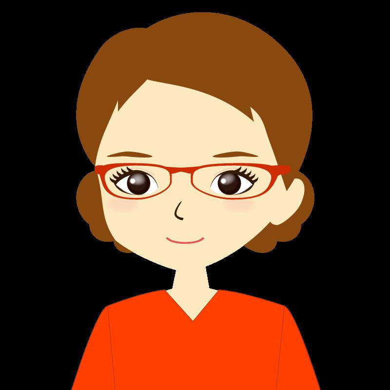 画像:まとめ髪女性イラスト表情 眼鏡 普通