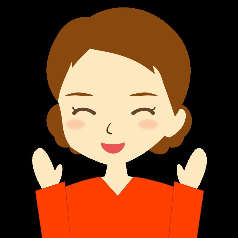 画像:まとめ髪女性イラスト表情 喜び