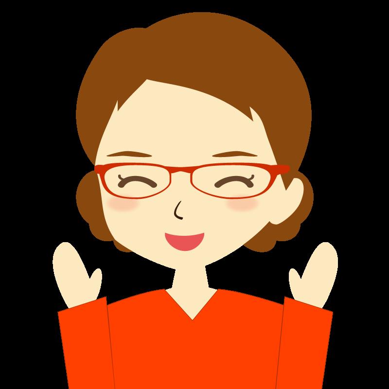 画像:まとめ髪女性イラスト表情 眼鏡 喜び