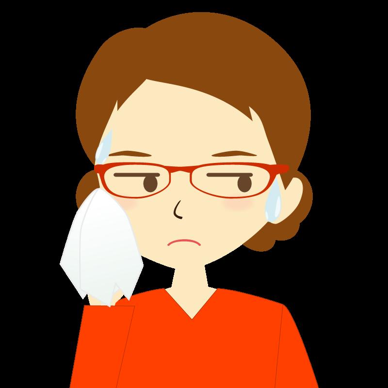 画像:まとめ髪女性イラスト表情 眼鏡 汗