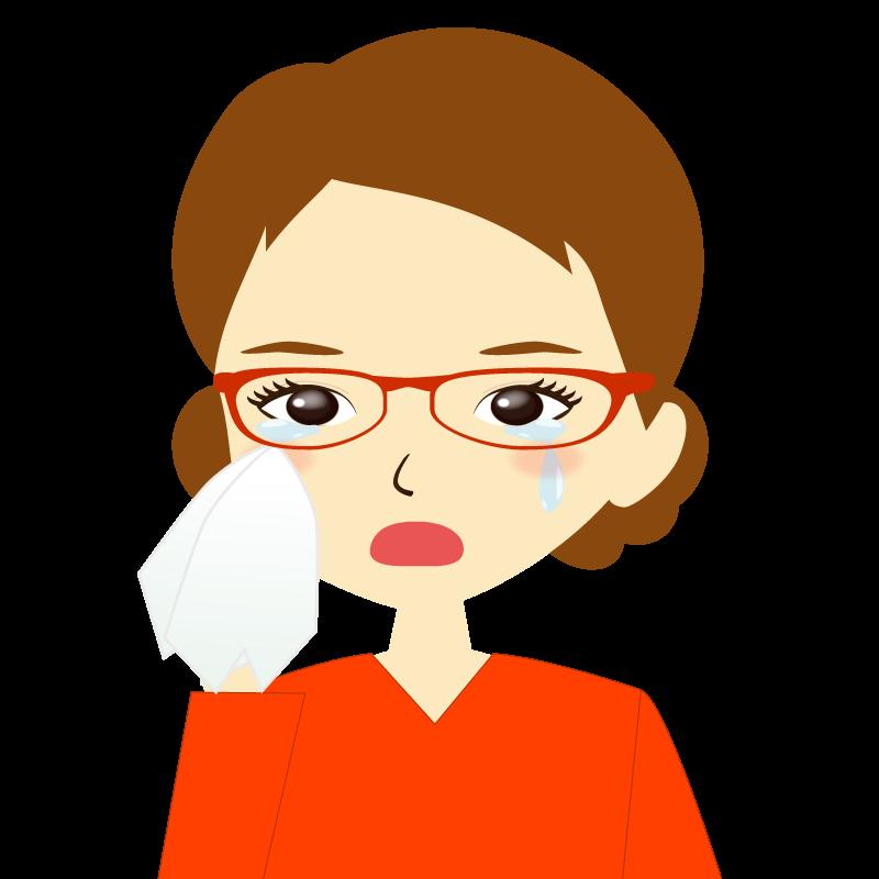 画像:まとめ髪女性イラスト表情 眼鏡 涙