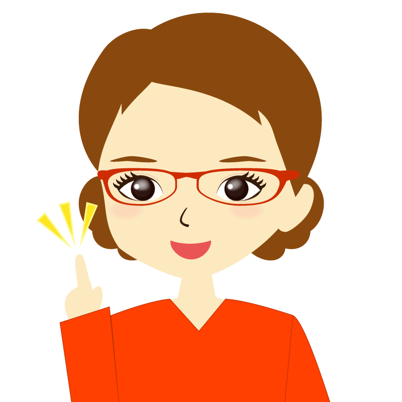画像:まとめ髪女性イラスト表情 眼鏡 ひらめき