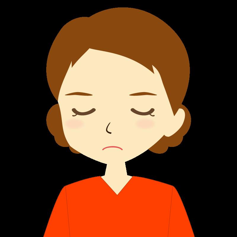 画像:まとめ髪女性イラスト表情 目を閉じる