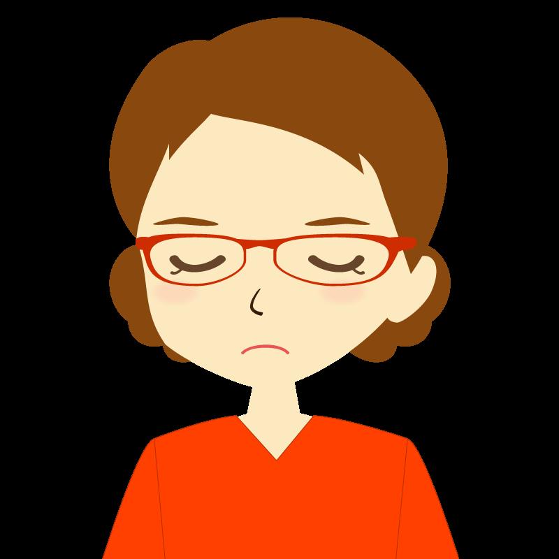 画像:まとめ髪女性イラスト表情 眼鏡 目を閉じる