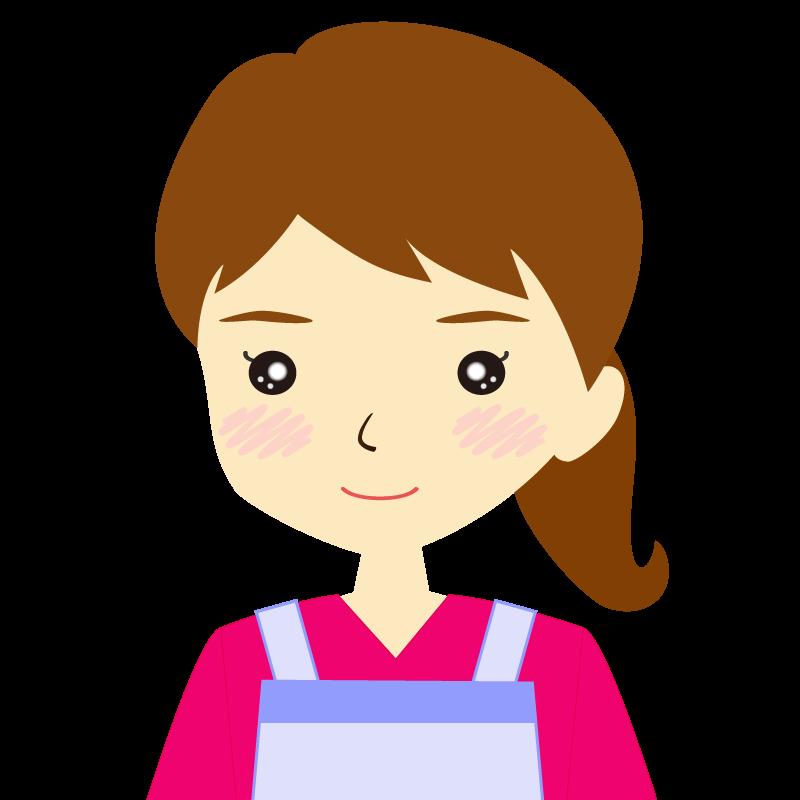 画像:エプロンを付けたポニーテールの女性イラスト表情 普通