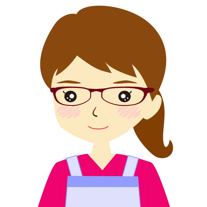 画像:エプロンを付けたポニーテールの女性イラスト表情 眼鏡 普通