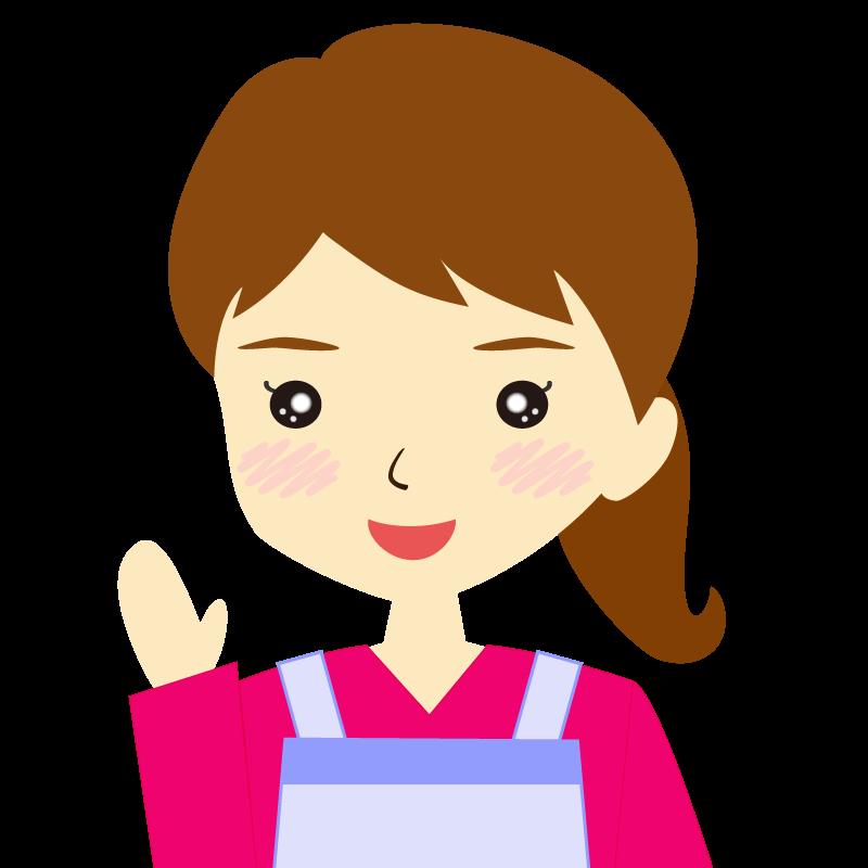 画像:エプロンを付けたポニーテールの女性イラスト表情 笑顔