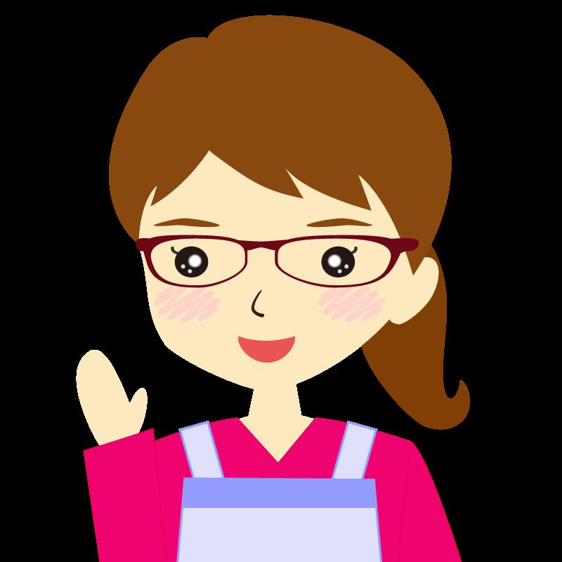 画像:エプロンを付けたポニーテールの女性イラスト表情 眼鏡 笑顔