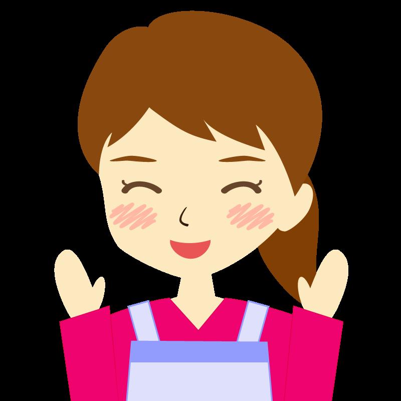 画像:エプロンを付けたポニーテールの女性イラスト表情 喜び