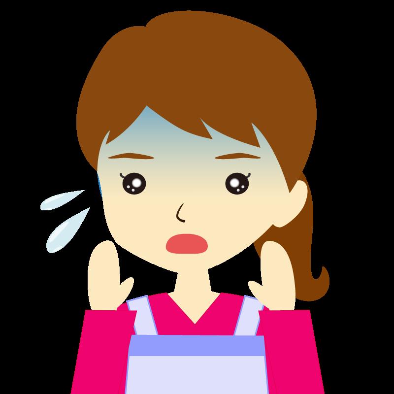 画像:エプロンを付けたポニーテールの女性イラスト表情 驚き