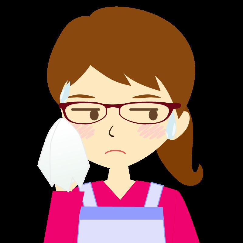 画像:エプロンを付けたポニーテールの女性イラスト表情 眼鏡 汗