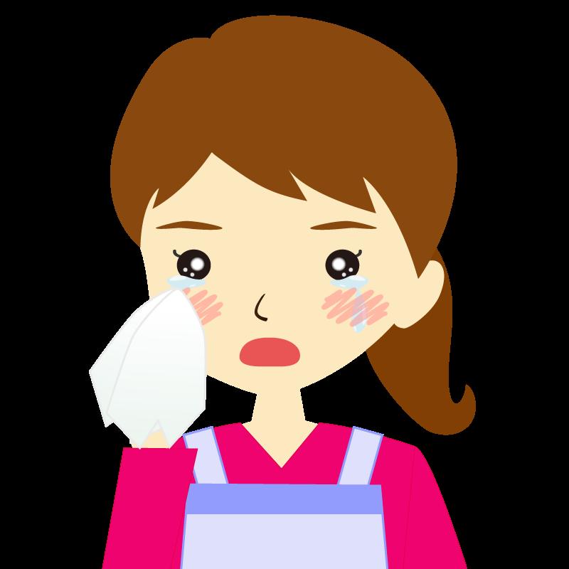 画像:エプロンを付けたポニーテールの女性イラスト表情 涙
