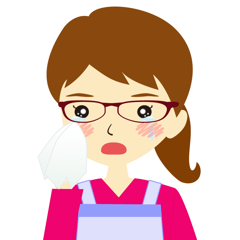 画像:エプロンを付けたポニーテールの女性イラスト表情 眼鏡 涙