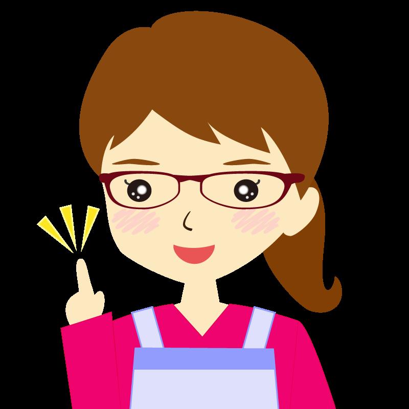 画像:エプロンを付けたポニーテールの女性イラスト表情 眼鏡 ひらめき
