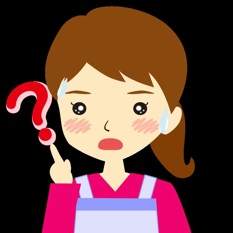 画像:エプロンを付けたポニーテールの女性イラスト表情 ?